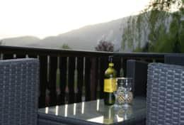 Enjoying the sunset on the terrace.