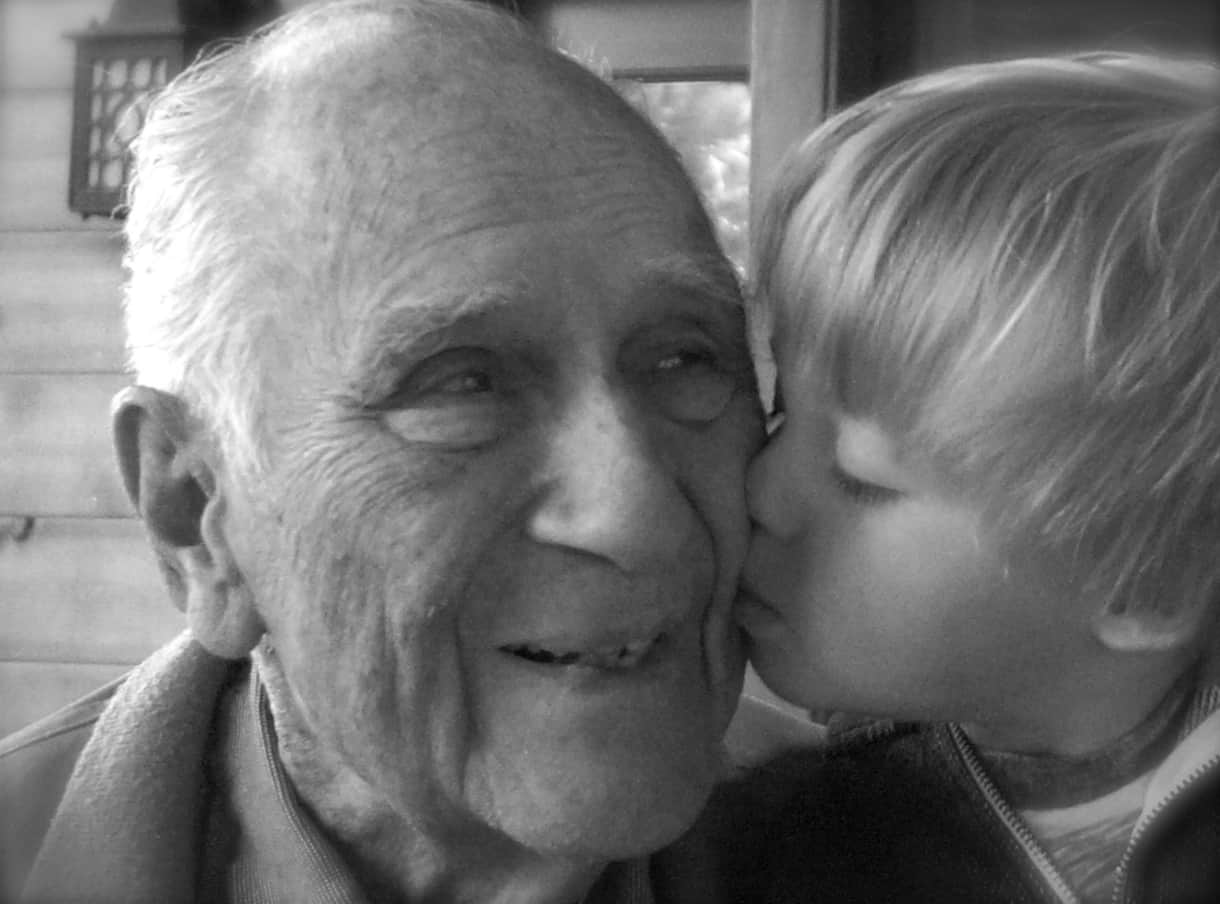 Lawrence, original owner, with great-grandson