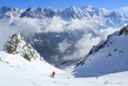 Skiing in La Flegere - quite steep red piste Lachenal.
