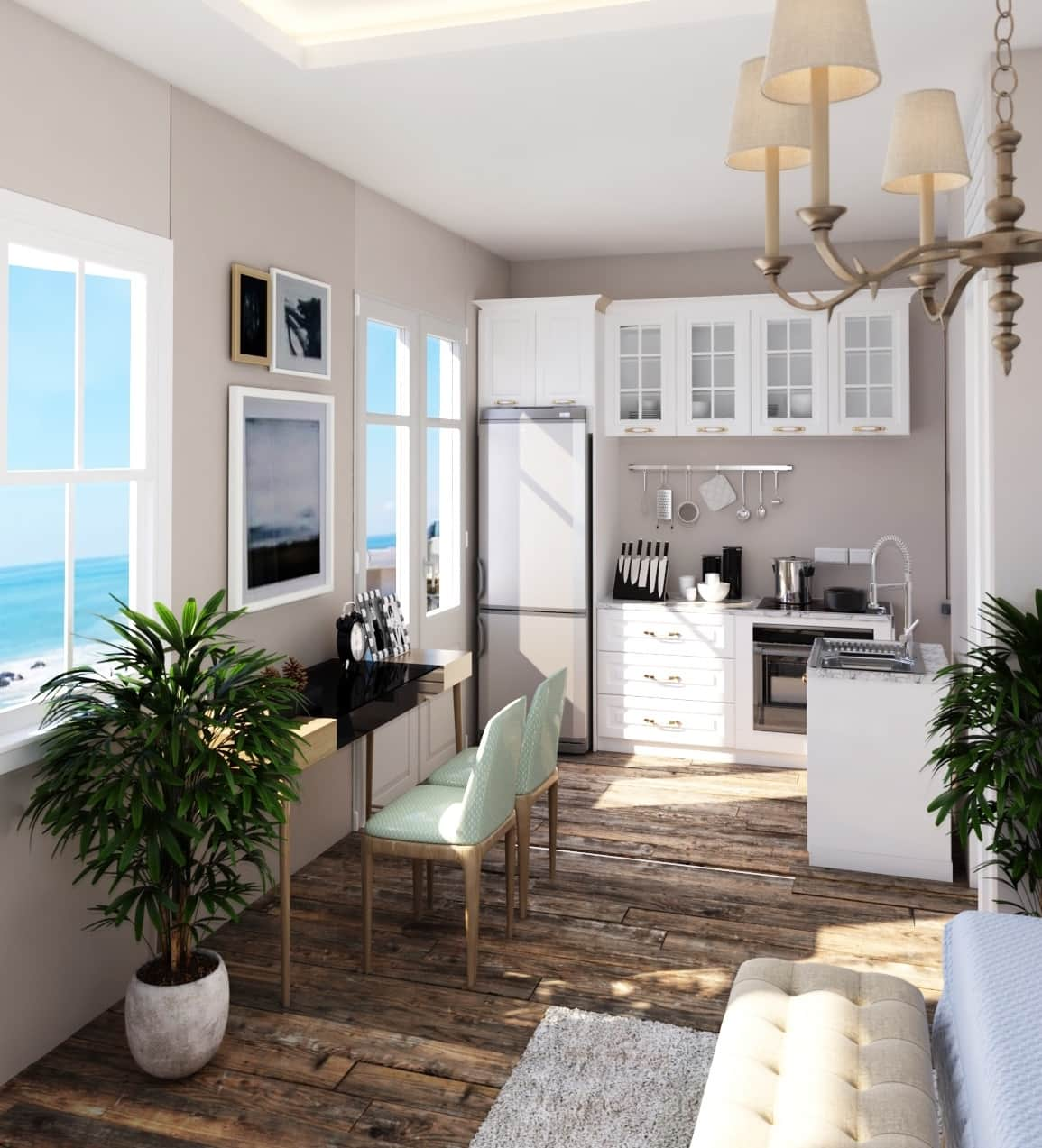 Terrace Suite kitchen and private porch with ocean views