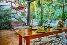 poolside dining in villa rio
