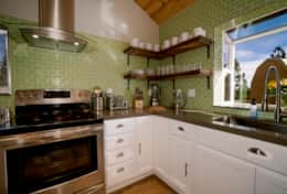 Open shelving layout makes the kitchen easy to navigate and clean