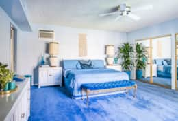 The royal blue master suite in all its glory