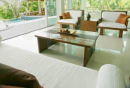 Living room & pool with views across Chalong Bay