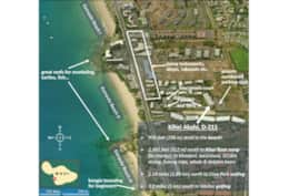 Map with beaches opposite Kihei Akahi