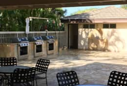Shared pool, hot tub, bathrooms & gas grills.