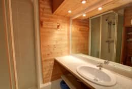 The rustic wood clad bathroom has a washbasin, toilet and shower