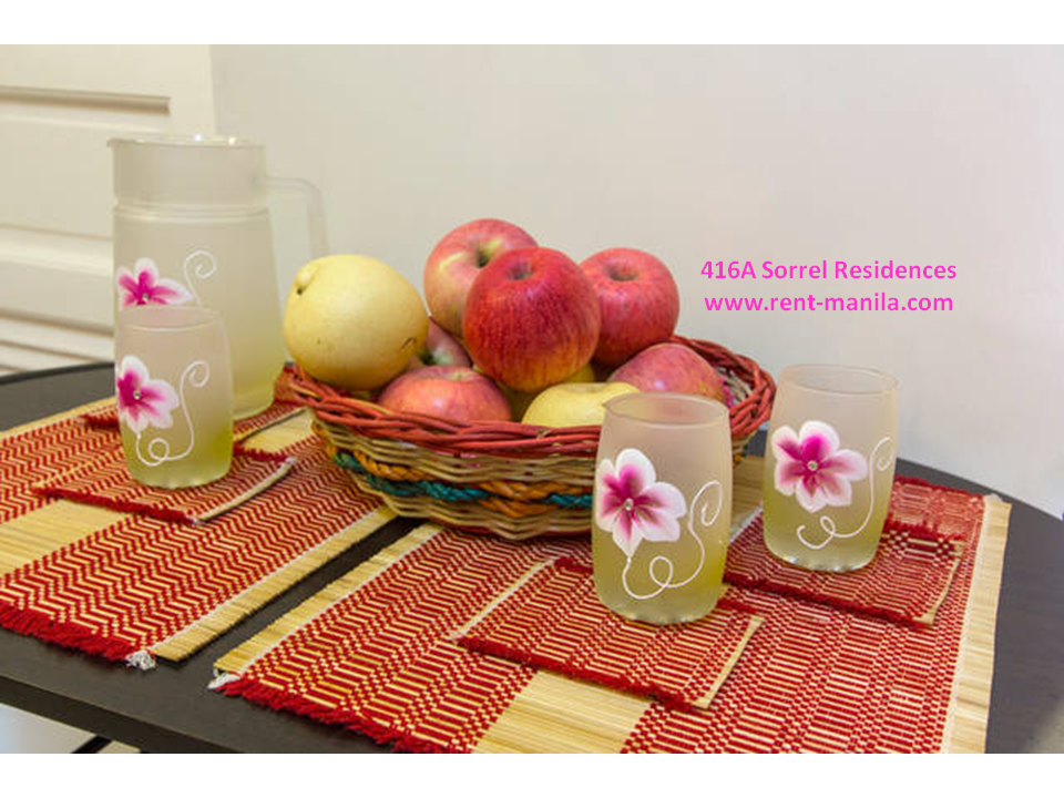 Dining table in living room (Apples are shown for decoration purposes only and are not included)