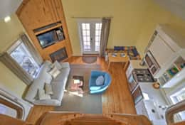 Bird's eye view of main cabin from loft