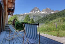 The chalet's terrace offers wonderful view of the mountains.