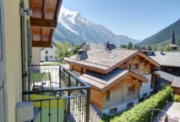 Balcony of the bedroom No 3 offers panoramic views of mountains and Chamonix Valley.