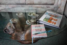 Sofa table with guest book and informational book