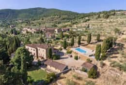 Antica Villa Cortona, aerial view direction Tuscany