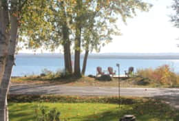 View of the waterfront from the cottage across the quiet residential roadway