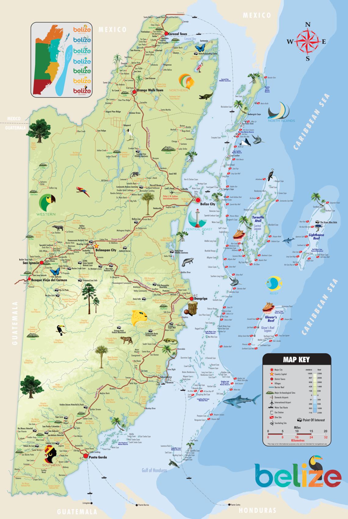 Official Belize Map - Belize map belmopan