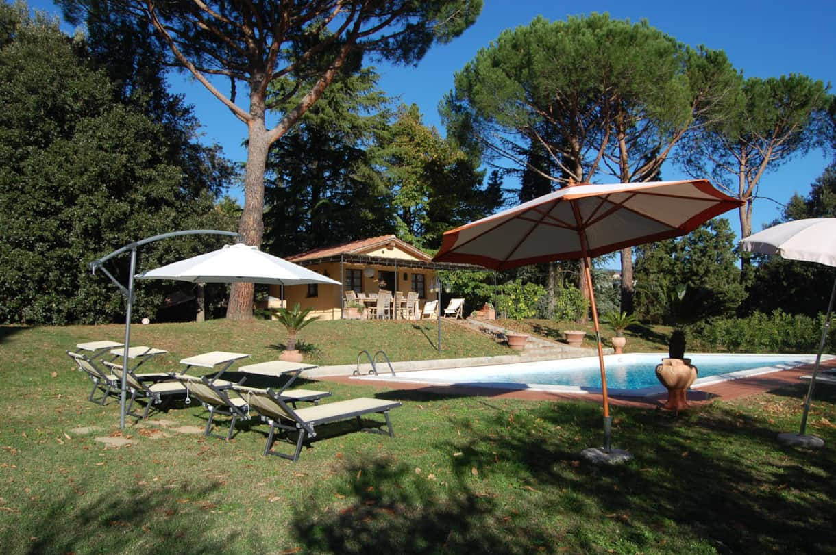 The wonderful pool house overlooking the pool and the olive grove