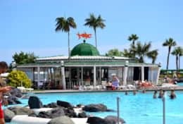 The Maritime Park with Bars and Restaurants has 3 large seawater pools with volcanic rocks and palm
