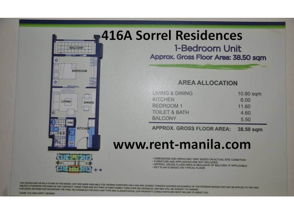 Layout of 416A Sorrel Residences